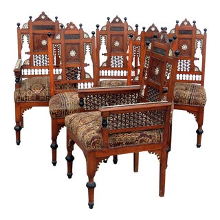 Set of 6 Moroccan Inlaid Dining Chairs For Sale