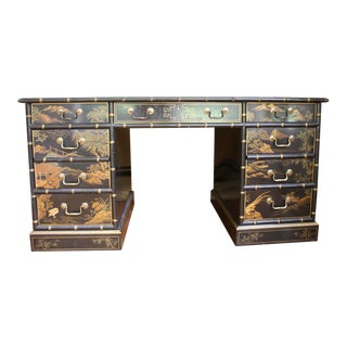 Massive Chinoiserie Faux Bamboo Drexel Desk With Asian Scenes Front, Back and Sides For Sale