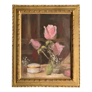 Signed Original Vintage Still Life Painting of Pink Roses W/ Original Frame For Sale