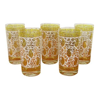 Vintage Georges Briard Paisley High Ball Glasses, Yellow and Gold For Sale
