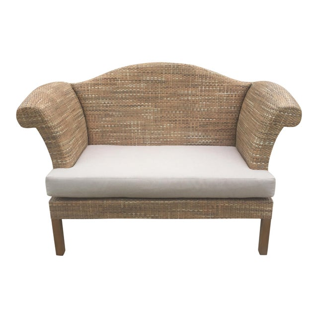 Natural Woven Rattan Settee For Sale - Image 6 of 9