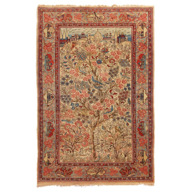 Red 1910s Antique Kashan Blue and Beige Wool Persian Rug-4′6″ × 7′1″ For Sale - Image 8 of 8
