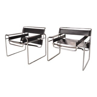"""Set of Two """"Wassily"""" Chairs by Marcel Breuer for Gavina, Italy, circa 1960"""