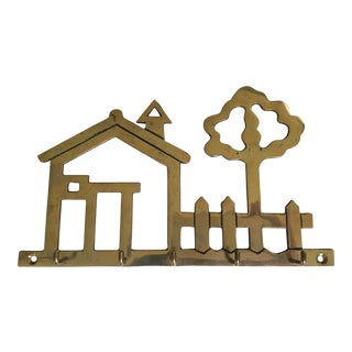 Mid Century House, Picket Fence & Tree Shape Brass Key Rack For Sale