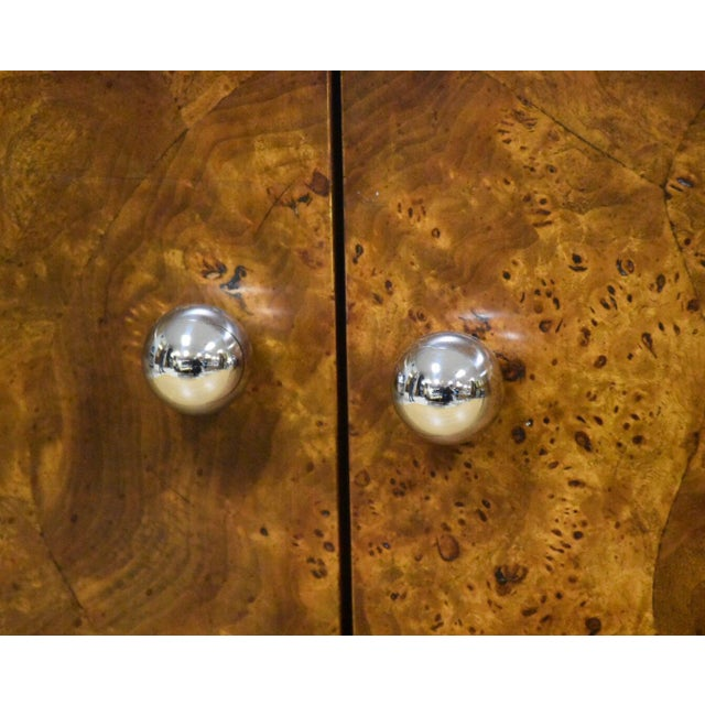 Tomlinson Burl and Chrome Credenza For Sale - Image 10 of 11