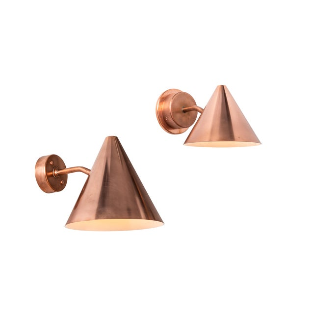 Hans-Agne Jakobsson Hans-Agne Jakobsson 'Mini-Tratten' Polished Copper Outdoor Sconces - a Pair For Sale - Image 4 of 6