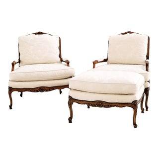 Baker Furniture Bergere Chairs and Ottoman - Set of 3 For Sale