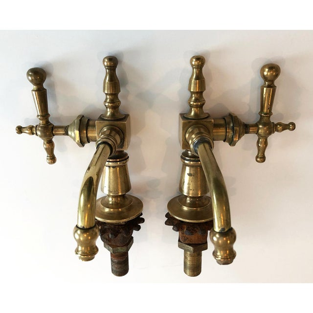 Antique French Brass Faucet Fixtures, Pair - Image 5 of 11