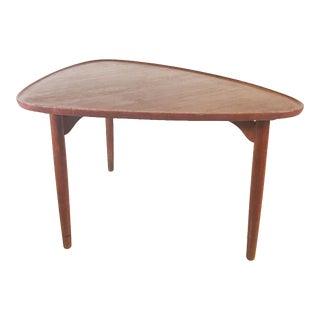 1950s Danish Modern 3 Legged Table Teak Side Table For Sale