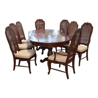 French Provincial Dining Table With 8 Chairs Bassett With 2 Leaves and Pads For Sale