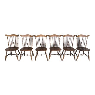 Temple Stuart Solid Maple Windsor Brace Back Side Chairs - Set of 6 For Sale