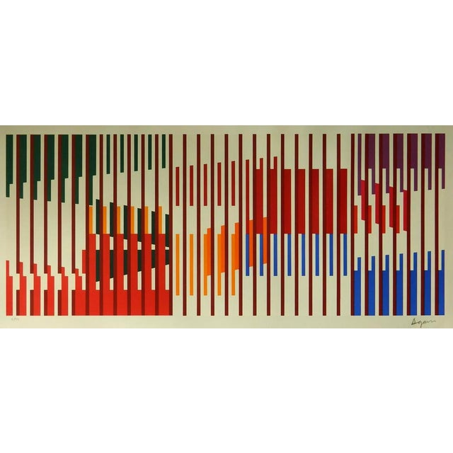 Op Art 1960s Vintage Yaacov Agam Untitled Op Art Silkscreen Signed Print For Sale - Image 3 of 3