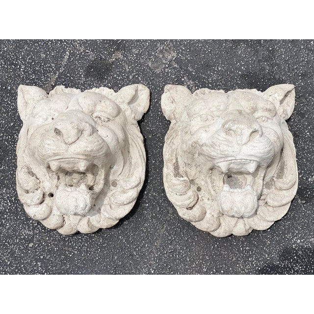 Hollywood Regency Vintage Pair of Cast Stone Lion Heads For Sale - Image 3 of 6