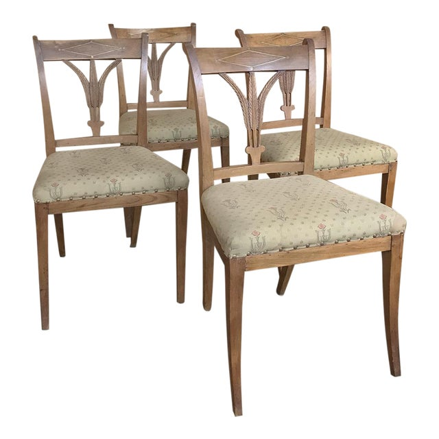 Set of Four 19th Century Swedish Directoire Style Chairs For Sale