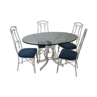 Vintage White Faux Bamboo & Aluminum Dining Set
