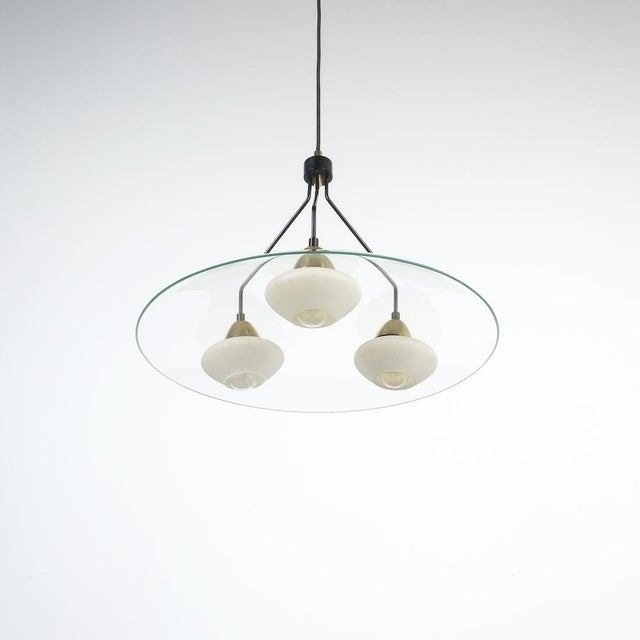 Angelo Lelii Style Ufo Chandelier Clear Glass Brass, Italy Circa 1955 For Sale - Image 13 of 13
