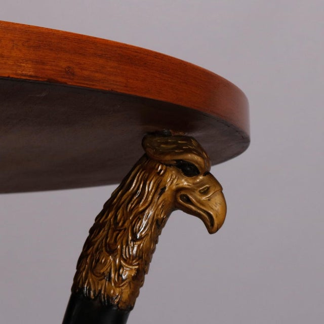 Empire Vintage French Empire, Figural Ebonized & Gilt Mahogany Lamp Stand For Sale - Image 3 of 10