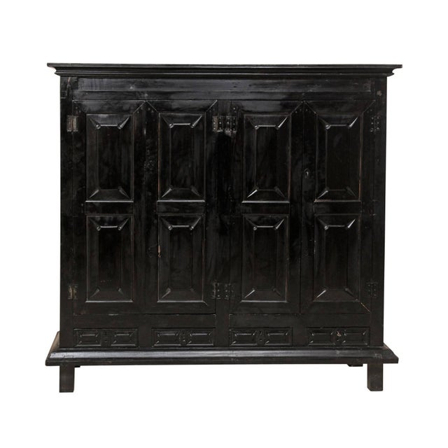 Large British Colonial Cabinet From the Mid-20th Century of Dark Ebonized Wood For Sale - Image 12 of 12