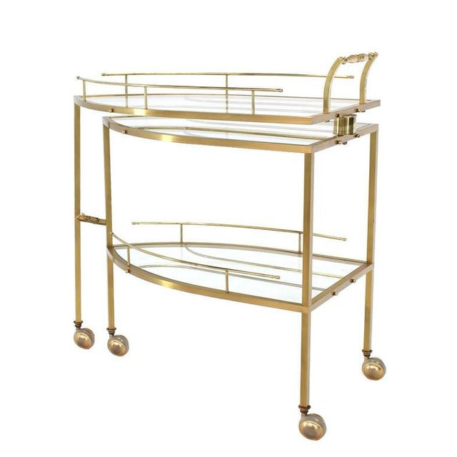 Unusual Iron Shape Folding Brass Tea Cart For Sale - Image 10 of 10