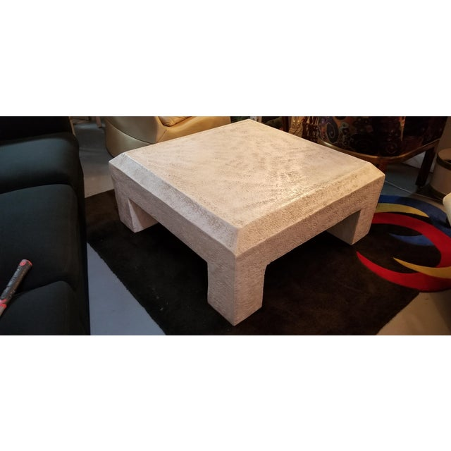 For your consideration a wonderful Vintage Postmodern / Geometric Raw Plaster Decorative Coffee Table. Made of wood with a...