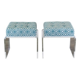 Waterfall Lucite & Chenille Benches - A Pair For Sale