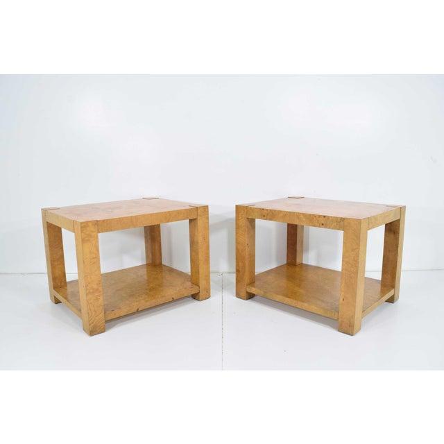 Great looking pair of Milo Baughman burl wood end tables or nightstands.