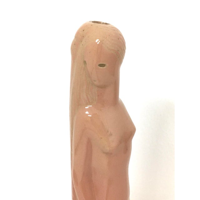 Salmon colored art deco lamp base in the form of a woman designed by Waylande Gregory, circa 1930s Lamp signed on bottom...