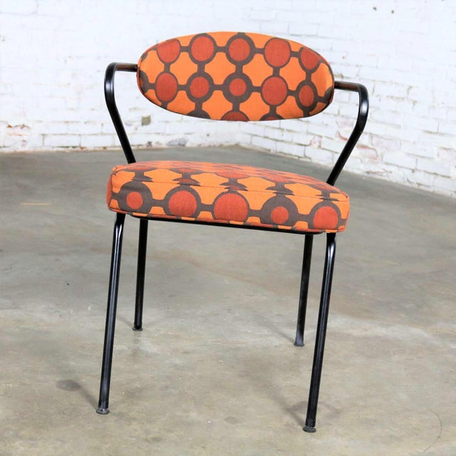 Industrial Mid Century Modern Black Bent Steel Tube Armchair With New Orange Upholstery For Sale - Image 3 of 13