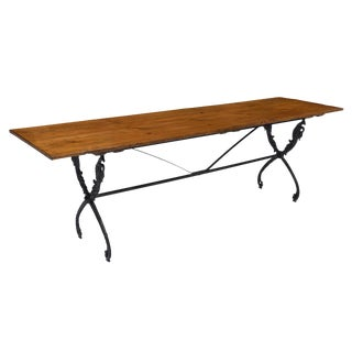 French Antique Farm Table With Iron Base For Sale