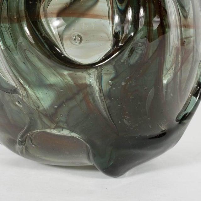 Mid-Century Modernist Handblown Smoked Tourmaline / Cinnabar Murano Glass Vase For Sale - Image 4 of 11