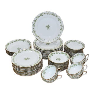 1800s Haviland Limoges Porcelain Tableware Set- 54 Pieces For Sale