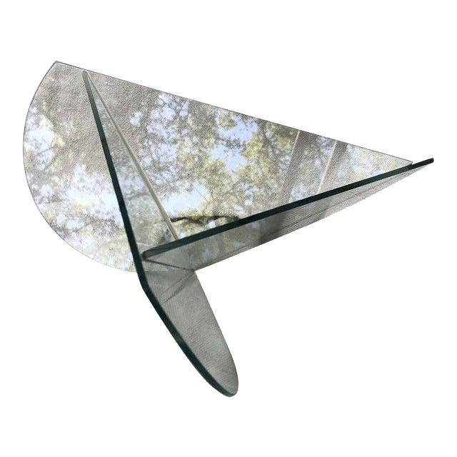20th Century Postmodern Glass Triangle Decorative Bowl For Sale