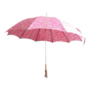 1960s Vintage Pink Paisley Umbrella For Sale