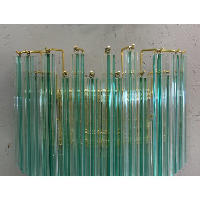 Italian Venini Aquamarine Murano Glass Quadriedri Sconce For Sale - Image 3 of 6