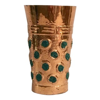 Turquoise / Greek Key Copper Vase