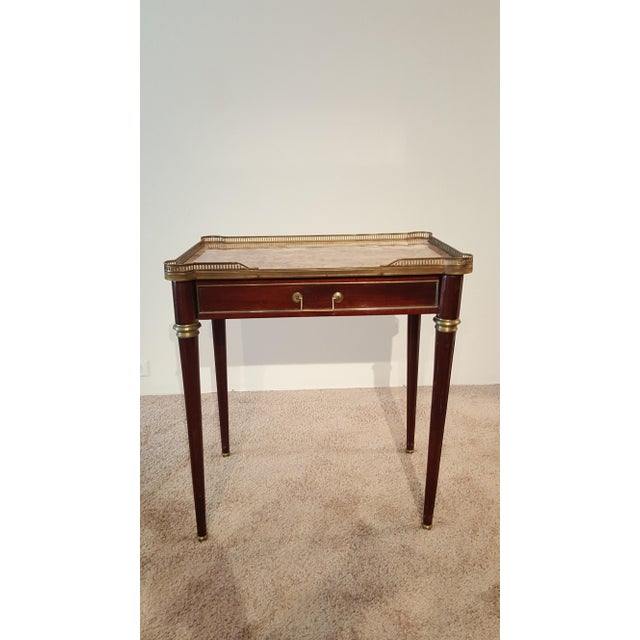 Louis XVI Style Marble Top Side Table For Sale - Image 12 of 12