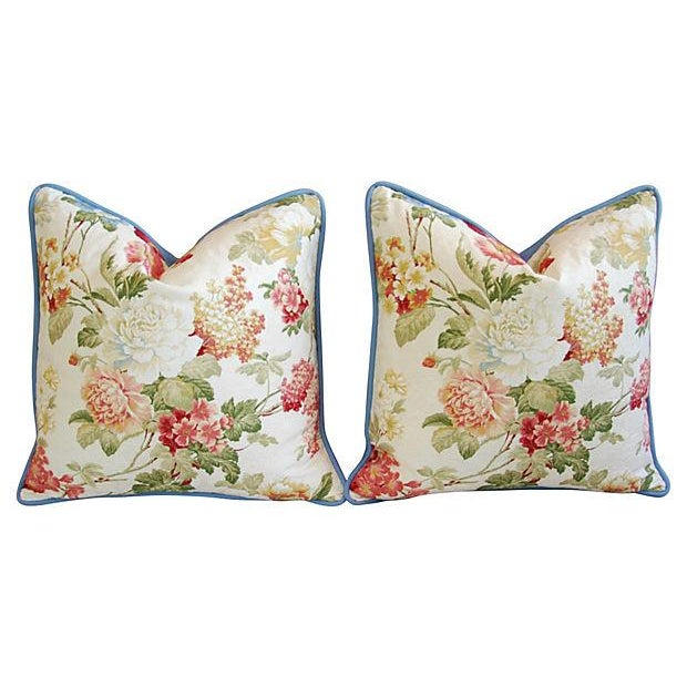Designer English Jacquard Floral Pillows - Pair - Image 7 of 7