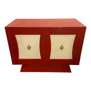 Parzinger Style Red and White Lacquered Cabinet For Sale