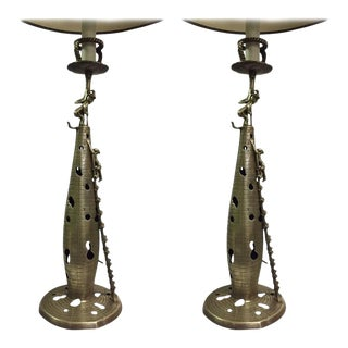 Pair of Chinese Bronze Figural Lamps