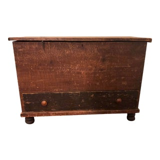 Large Rustic Antique Wood Chest For Sale