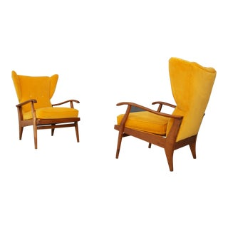 Pair of Mid Century Italian Armchairs Velvet Yellow by Camea, 1950s For Sale
