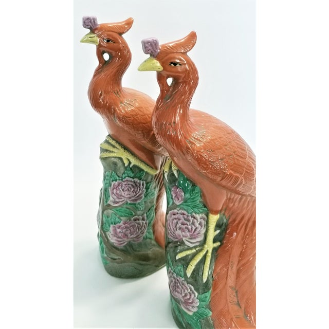 Mid 20th Century Large Chinese Ceramic Phoenix Sculpture Figurines - a Pair - Feng Shui - Asian Palm Beach Boho Chic Animals Birds Tropical Coastal For Sale - Image 5 of 13
