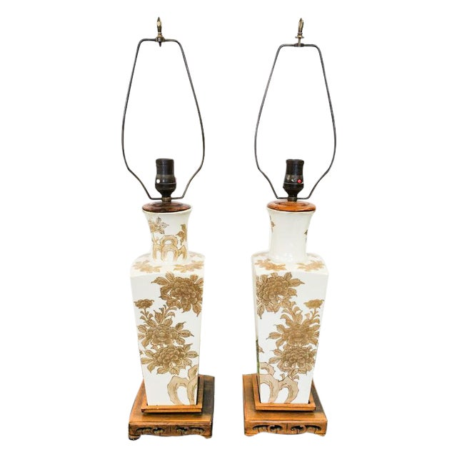 Oriental Gold and White Vintage Lamps - a Pair For Sale