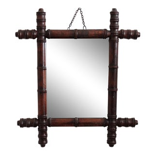 Late 19th Century Antique French Faux Bamboo Mirror For Sale