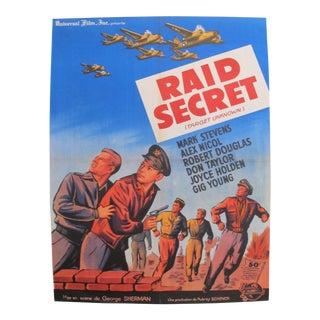 1951 Vintage American Wwii Movie Poster, Raid Secret For Sale