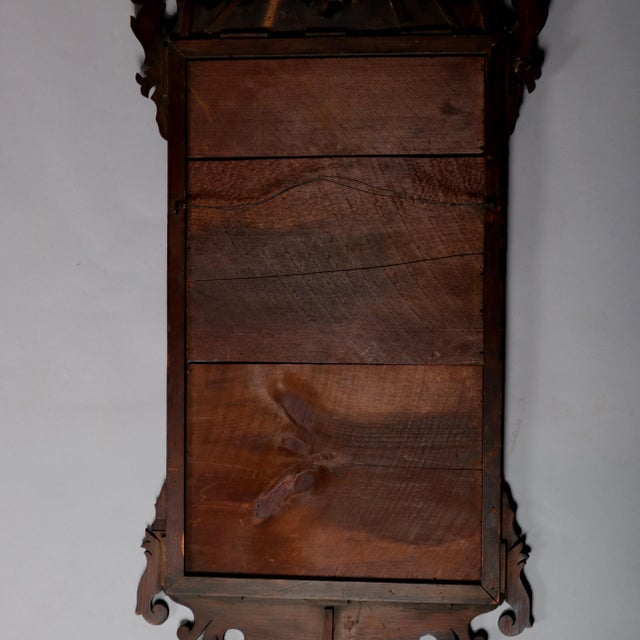 Antique Federal Chippendale Figural Mahogany & Gilt Phoenix Wall Mirror For Sale - Image 9 of 10