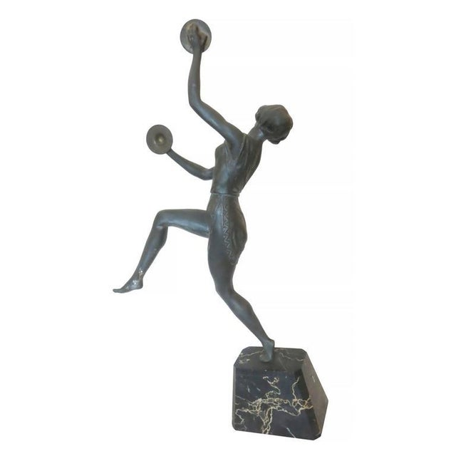 Art Deco Alliot Style Bronze Figural Statue of a Dancer with Cymbals - Image 2 of 6