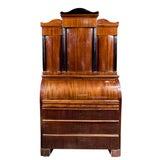Image of Antique Biedermeier Cylinder Roll Top Desk For Sale