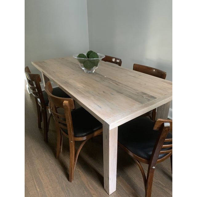 Ecru European Style Modern Farmhouse Reclaimed Wood Dining Table or XL Desk For Sale - Image 8 of 12