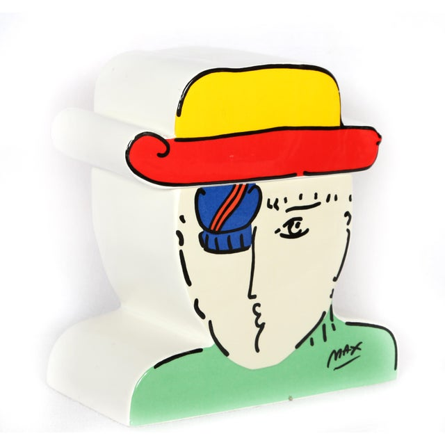 Artist: Peter Max, German/American (1937 - ) Title: Zero Year: 1989 Medium: Ceramic Cookie Jar Size: 8.5 in. x 8 in. x 4...